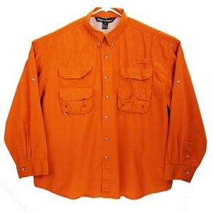 Mark & Spencer Orange Vented S/S Fishing Shirt 3XL